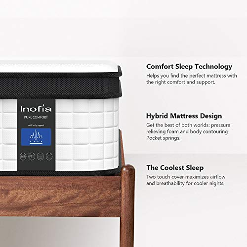 Inofia Queen Mattress, 12 Inch Hybrid Innerspring Double Mattress in a Box, Cool Bed with Breathable Soft Knitted...