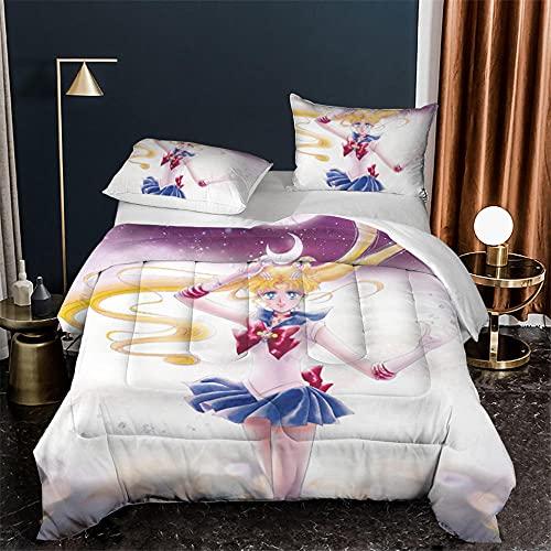 Único Funda Nordica 180X200 Cm Microfibra Suave Cómodo Ropa De Cama Sailor Moon Anime para Adultos Y Infantil Fundas Nordicas Cama 180 Baratas con Funda Almohada