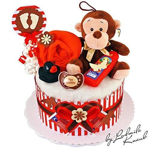 MomsStory - Windeltorte neutral | Affe | Baby-Geschenk zur Geburt Taufe Babyshower | 1 Stöckig (Rot-Braun) Baby-Boy & Baby-Girl (Unisex) mit Plüschtier Lätzchen Schnuller & mehr