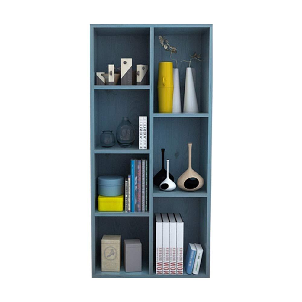 Estante Display Rack Storage Estante de madera Estantería de archivos de estantería de 7 rejillas azul