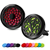 RoyAroma 2PCS 30mm Car Aromatherapy Essential Oil Diffuser Stainless Steel Black Locket with Vent Clip 12 Felt Pads