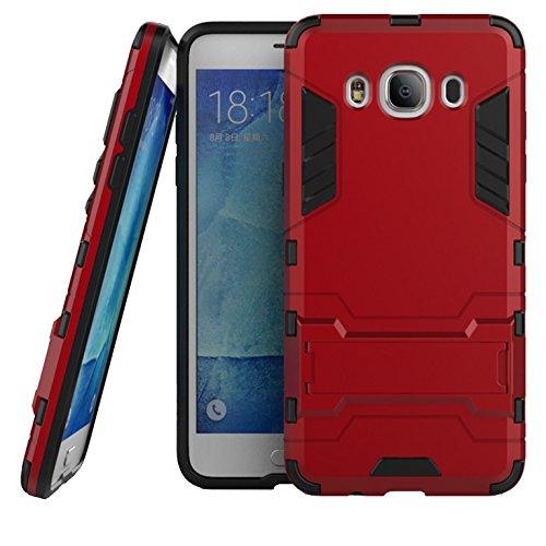 LXHGrowH Funda Samsung Galaxy J5 2016, Fundas 2in1 Dual Layer Anti-Shock 360° Full Body Protección TPU Silicona Gel Bumper y Duro PC Armadura Carcasa para Samsung Galaxy J5 (2016) J510, Rojo