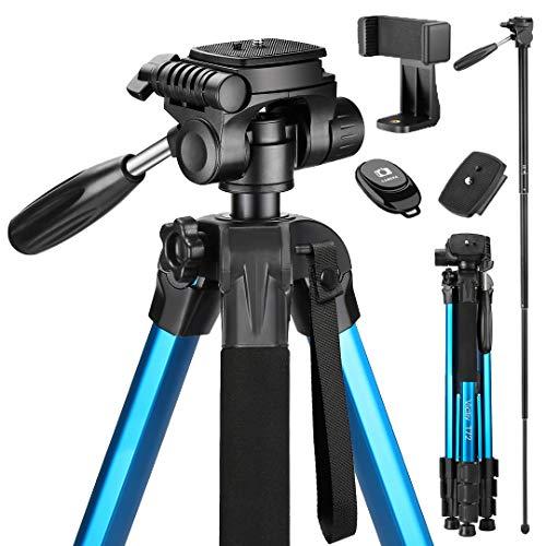 Victiv 182 cm Reisestativ Aluminium Einbeinstativ T72 - Leicht und kompakt Kamerastativ für unterwegs mit 360° Panorama Kugelkopf und 2 Schnellwechselplatte für Spiegelreflexkamera - Blau