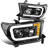 Pair Black/Clear Corner LED DRL + Turn Signal Projector Headlight Lamps Compatible with Toyota Tundra Sequoia 07-17