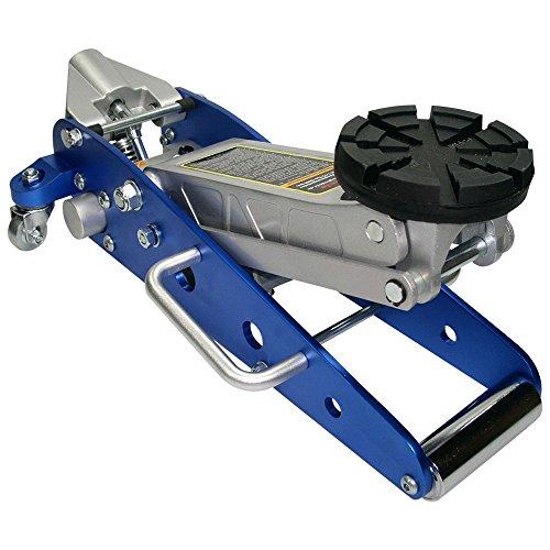 Aluminium Rangierwagenheber mit Ø 125mm Tragteller und Profilgummiauflage - Blau (BA) -
