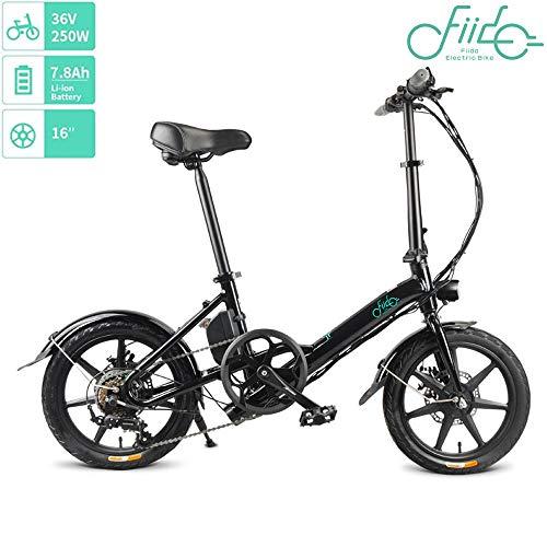 OUXI FIID0 D3S Bicicletta Elettrica per Adulto, Bici Elettrica Pieghevole da 14 Pollici 7.8 Ah 250W 36V Mini Bicicletta Pieghevole con 3 di Lavoro modalità per All'aperto Esercizio di Fitness-Nero