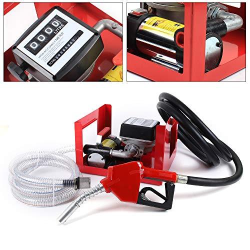 Dieselpumpe 230V Selbstansaugend Heizölpumpe Ölabsaugpumpe 200W 50L / min Elektrisch Ölpumpe, Automatik-Zapfpistole, 4m Schlauch, Zählwerk