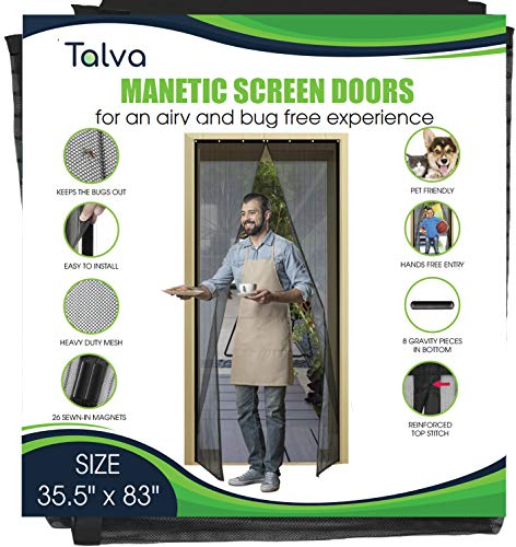 "Magnetic Screen Door by Talva - Mesh Heavy Duty - Fits Doors up to 35.5"" x 83"" - Hands Free, Kid Friendly - Screen Door with Magnets, Hook & Loop (35.5"" X 83"")"