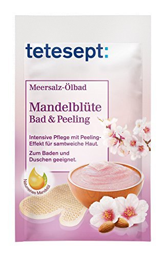 tetesept Meersalz Ölbad Mandelblüte - Bad und Peeling - Zum Baden und Duschen - intensiv pflegend, 1er Pack (1x 65 g)