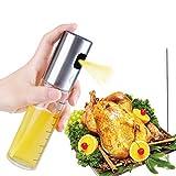 Pulverizador de Aceite, Spray Aceite Cocina, Rociador Dispensador de Aceite Oliva y Vinagre con Cepillo, Tapa de 304 Acero Inoxidable y Botella de Vidrio 100 ML para Cocinar Ensalada BBQ (A)