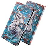 HMTECH Galaxy J5 2016 Case 3D Luxury White Tiger PU Leather