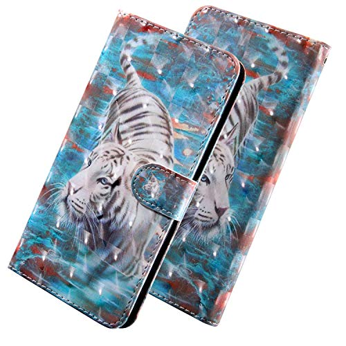 HMTECH Para LG Q6 / LG Q6 Mini Funda 3D Tigre Blanco Flip PU Leather Wallet con Business Card Holder Stand Function Case Compatible with LG Q6 / LG Q6 Plus,White Tiger