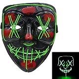 molezu LED Light Up Purge Máscara de miedo Novedad Halloween Disfraz de fiesta espeluznante Props, Safe EL Wire PVC DJs Mask(verde)