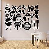 HGFDHG Calcomanías de Vinilo para Pared Kebab Barbacoa Comida rápida Restaurante Gourmet Restaurante decoración de Interiores Vinilo Adhesivo para Ventana Arte Mural