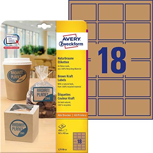 AVERY Zweckform L7110-25 Kraftpapier (zum Bedrucken, selbstklebend, 62x42 mm, 450 eckige Aufkleber auf 25 Blatt, recycling Klebepunkte zum Kennzeichnen von Produkten) Etiketten naturbraun