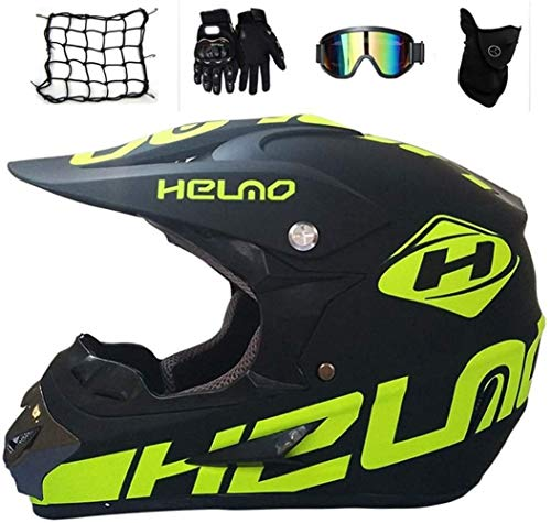 M-GLT Motocross Helmet/Motorrad Crosshelm, mit Handschuhe Sturmmaske und Brille Geeignet für Kinder und Erwachsene,Black,S(52~53)