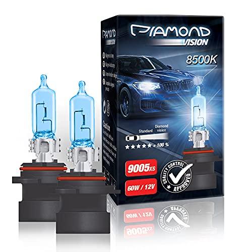 2x HB3A 9005XS 12V 60W 8500K Diamond vision Ampoules Alogene Halogene Effet Xenon Effect Look Blue Bleu Blanc White Racicng Vision Anti Erreur Night Breaker Laser Moto