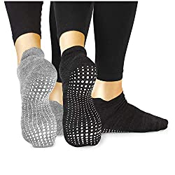 LA Active Grip Socks - 2 Pair - Yoga Pilates Barre Ballet Abs Nubs Non-Slip (Gray and Black, 37-40 EU)