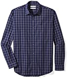 Amazon Essentials Men's Regular-Fit Long-Sleeve Casual Poplin Shirt, navy windowpane, X-Large