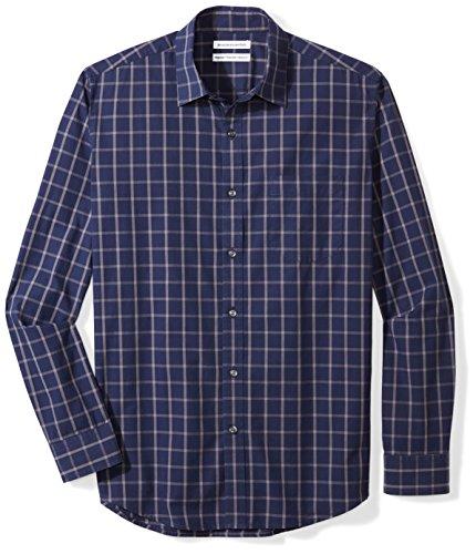 Amazon Essentials Men's Regular-Fit Long-Sleeve Casual Poplin Shirt, navy windowpane, Medium