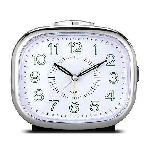 CEEBON - Reloj despertador silencioso analógico, con mecanismo de cuarzo, alarma, iluminación nocturna, música, funciona a pilas