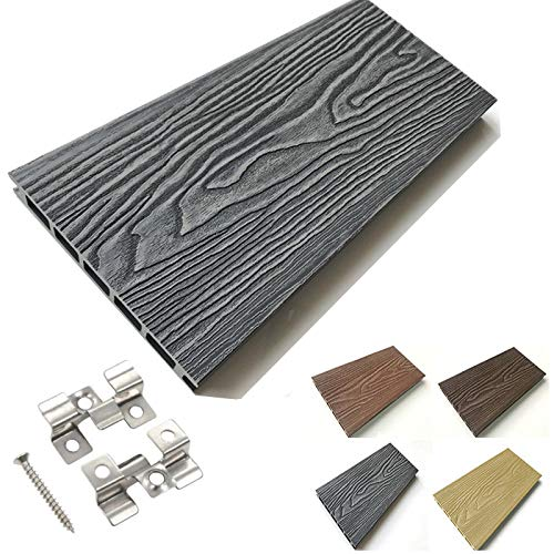 Listones WPC 3D 10 m² efecto madera compuesto resina grosor 25 mm para suelos de jardín y suelos, color gris oscuro