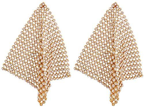 ZHENAO Pendientes Largos Cristal Golden Pendientes Gotas Punk Rhinestone Geométrico Cuadrado Metal Neto Joyería para Mujeres Accesorios Oro Decoraciones/Gold