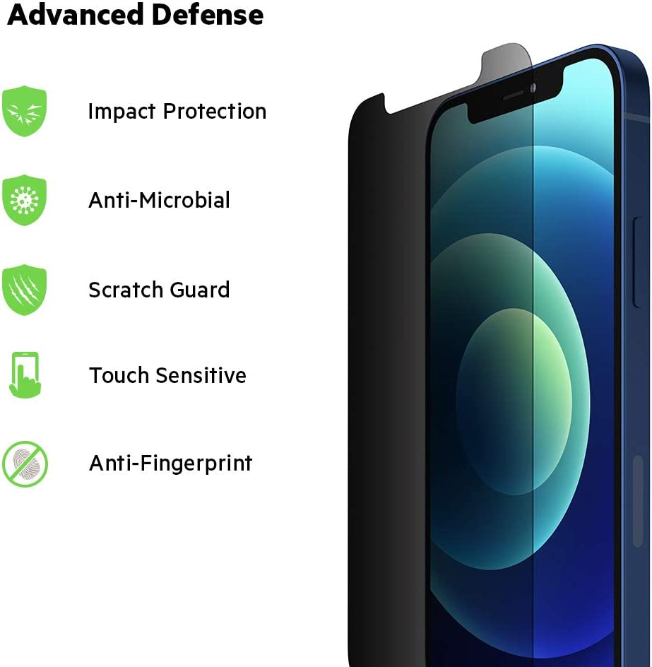 Keeps Screen Private + Reduces Bacteria Up to 99/% Belkin iPhone 12 mini Screen Protector TemperedGlass Privacy Anti-Microbial