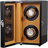 SLM-max Enrollador de Reloj automático,Devanadera de Relojes, Acabado de Piano con Almohadillas Ajustables para Relojes Espacios de Cuerda Bobinadoras de Relojes par
