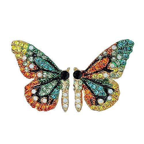 UBL PULABOButterfly Pendientes de alas de diamantes de imitación de plata 925 con aguja de moda y personalidad para el medio ambiente