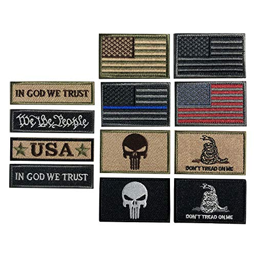 Bundle 12 Pieces USA Flag Patch Thin Blue Line Tactical American Flag US United States Military Patches Set for Caps,Bags,Backpacks,Tactical Vest,Military Uniforms (D-USA Patch)