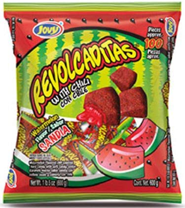 Jovy Revolcaditas Sandia Watermelon Flavor with Chili | Mexican Candy | 100 piece Bag