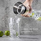 BeBuy24 2X Wasserkaraffe Glas (1 Liter) - Glaskaraffe mit Deckel und Ausgießer Wasserflasche - 5