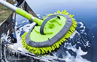 Portable Car Washing Cleaning Rotating Mop with Long Green Aluminum Alloy Handle