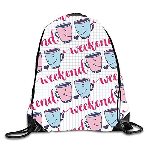 uykjuykj Tunnelzug Rucksäcke, Indian Hunting Sackpack Drawstring Backpack Waterproof Gymsack Daypack for Men Women Weekend Cups4 Lightweight Unique 17x14 IN