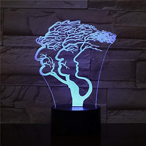 jiushixw 3D acryl nachtlampje met afstandsbediening van kleur veranderende lampen leeftijd man boom kinderen geschenk designer statief tafellamp standaard