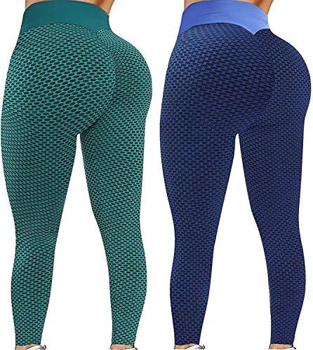 Hunpta 2 mallas largas para mujer, corte ajustado, cintura alta, a cuadros, pantalones deportivos con control de abdomen, push up, leggins deportivos para correr, yoga, fitness C-azul. XL