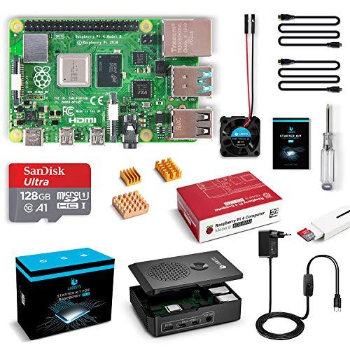 LABISTS Raspberry Pi 4 Modèle B (4 B) 8Go RAM Kit avec 128 Go Carte Micro SD Classe 10, 5,1V 3A Alimentation Interrupteur Marche/Arrêt, Boîtier Noir, Ventilateur, 2 Câble Micro HDMI, 3 Dissipateur