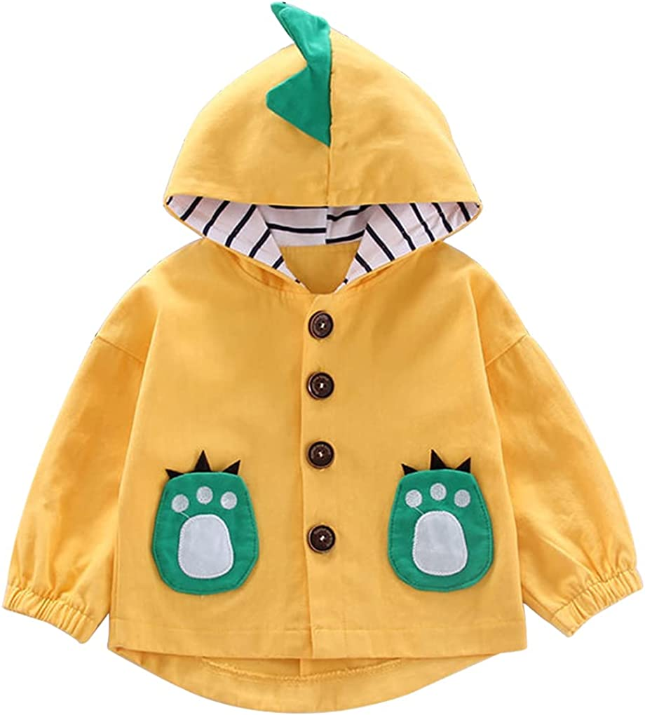 Toddler Baby Fashionable Boys Girls Dinosaur Kids Button Down discount Jacket Hooded