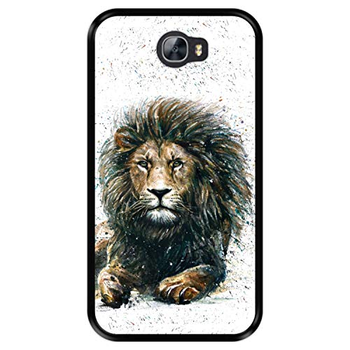 Funda Negra para [ Huawei Y5 II - Y6 II Compact ] diseño [ El león, Rey de la Selva ] Carcasa Silicona Flexible TPU