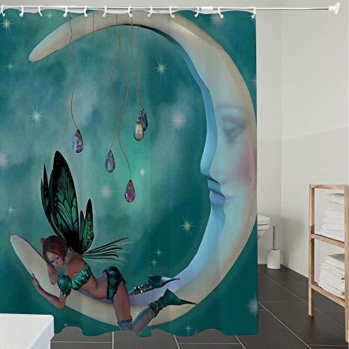Derun Duschvorhänge, Textil Bad Vorhang aus Polyester, Anti-Schimmel, Mond, schöne Elfe mit Flügeln Fantastische Toonimal Faeire Pixie Sternenhimmel ko,Blickdicht, Wasserdicht, Waschbar, 180X180CM