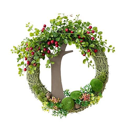 YNGJUEN Künstliche Garland Garland mit grünen Blättern geeignet for Haustür Innen- oder Außenwand Hochzeit Hauptdekoration 33cm