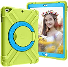 IPad 9.7 2018 2017 Case, 360 Rotating Multi-Functional Grip Stand Shockproof Full-Body Rugged Protective Cover,1