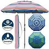 Blissun 7.2' Portable Beach Umbrella with Sand Anchor, Tilt Pole, Carry Bag, Air...