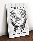 Personalized We're A Team I Love You The Most Vertical Poster or Canvas Wall Art Farmhouse Sign Birthday Wedding Housewarming Couple
