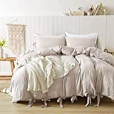 annadaif Duvet Cover Queen(90x90 Inch), 3 Pieces Khaki (Pinkish Under Warm Light) Ultra Soft Washed Cotton Bowknot Bow Tie Queen Duvet Cover, Easy Care Duvet Cover Set for Men, Women