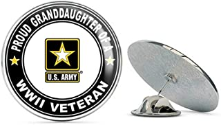 Proud Grandaughter of a US Army World War II Veteran Steel Metal 0.75
