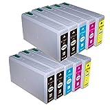 10 Cartucce compatibile per Epson WF-5620DWF 5110DW 5690DWF 5190DW 4630DWF 4640DTWF BL-T7901 BL-T7902 BL-T7903 BL-T7904 con chip