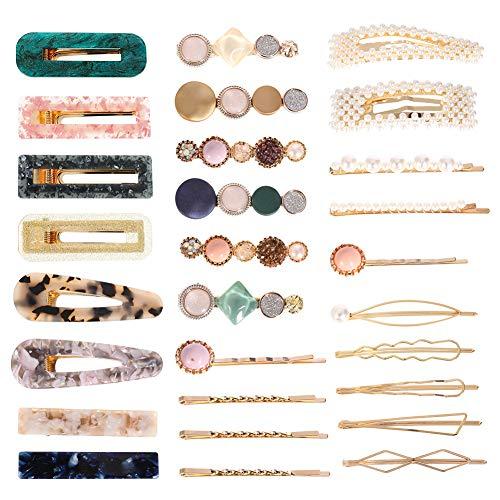 Opopark 30 Pezzi Perle Fermagli per Capelli Forcine Barrette per Capelli Artificiali per Donna Ragazze Copricapo Accessori per Capelli