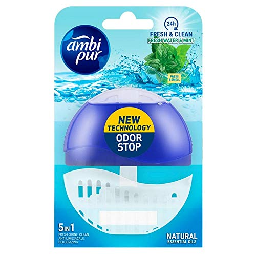 Ambi Pur 6 Stück Toilettenblockhalter + Nachfüllpackung 55ml - Fresh Water & Mint.